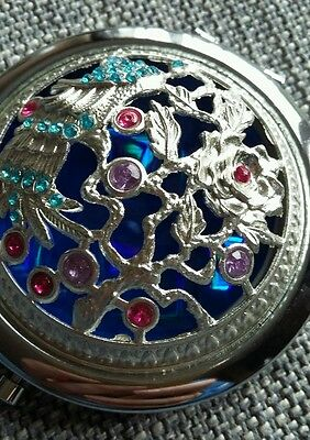 Vintage Decorative Oriental Peacock Patterned Double Compact Mirror.Mother's Day