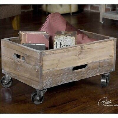 Uttermost Stratford Reclaimed Fir Wood Rolling Box in Light Gray Wash