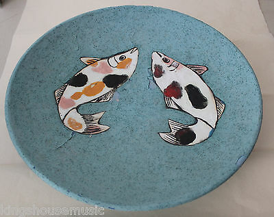 Signed Art Pottery Bowl Organic Matte Turquoise Blue Glaze Fish Luck Fortune