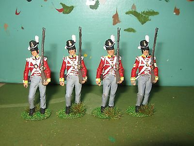 4 X British 30Th Cambridgeshire Regt Waterloo 1815,  1/32Nd Painted Soldiers