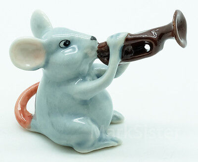 Figurine Animal Ceramic Rat Mouse Mice Playing Trumpet Musical - FG091-2