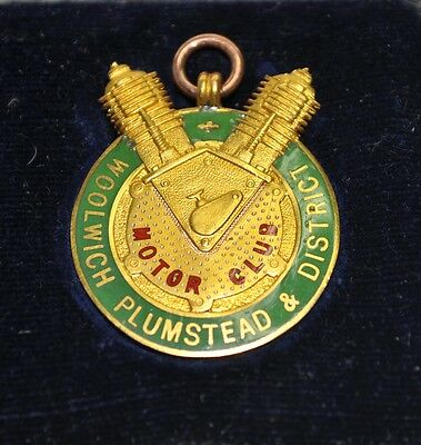 9ct Gold Woolwich Plumstead & District Motor Club Medal - Original Box - 8.1g