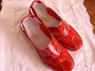 NEW Amblers ladies red shoes 5 leather