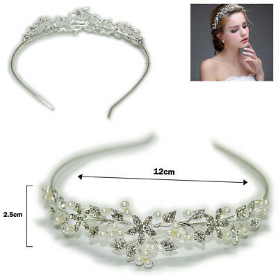 Silver Wedding Bridal Princess Crystal Rhinestone Hair Tiara Crown Headband UK