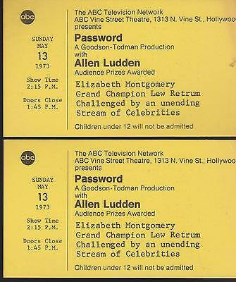 *password* Game Show Tickets May 13, 1973 Abc/allen Ludden