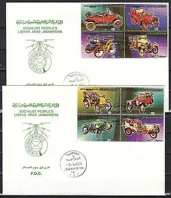 + Libya, Scott cat. 1190 A-H. Antique Autos issue. 2 First day covers.