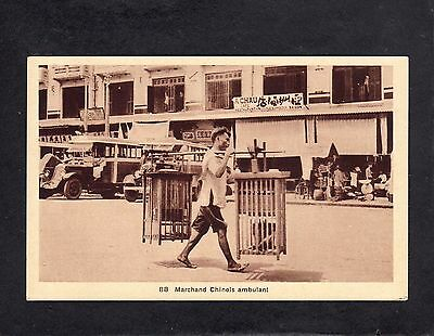 Walking Chinese merchant with cages ethnic Vietnam postcard