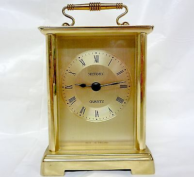 "Metamec Brass Quartz  Mantel  Carriage Clock 5"" High Good Working Order"