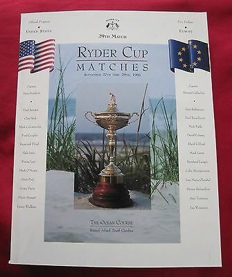 Ryder Cup Programme Kiawah 1991 in mint condition