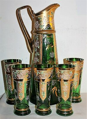 Hand Painted Pitcher Glass Lemonade Set Antique Old Floral Flowers Cups