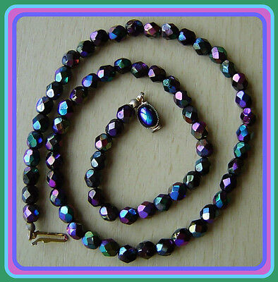 Vintage Gorgeous Necklace. Faceted aurora borealis Glass Beads  17 inches long.