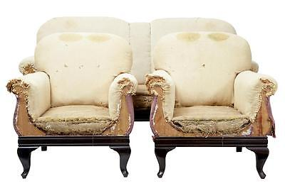 19Th Century Mahogany 3 Piece Suite Armchairs Sofa