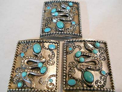 3 Large Antique Silver Clear Crystals Turquoise Snake Serpent 2 Holes Bead Bars
