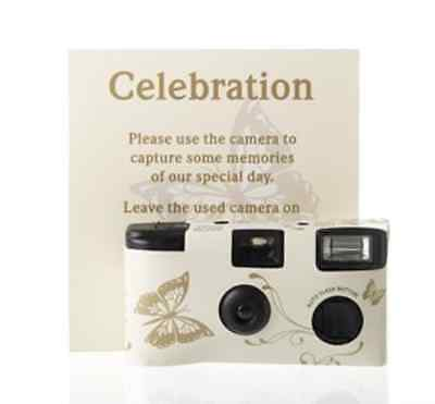 Disposable Cameras with Butterfly Design Cream