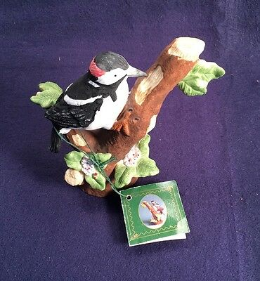 "Russ DOWNY WOODPECKER 5.5"" porcelain Figurine ""Nature's Song"""
