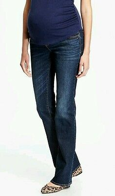 Nwt Maternity Jeans Full Panel Boot Cut Pregnancy Pants Dark Denim Old Navy 10 R