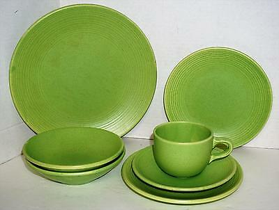 Royal Stone China Lime Green Speckled Embossed 7 Pieces Rare Color VGUC