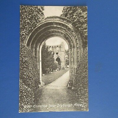 Old Postcard of The West Entrance Door Dryburgh Abbey.