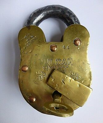 Large 10 lever Antique Brass Padlock with Key, working order.