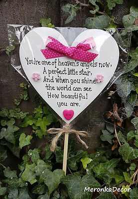 Memorial heart Pink-Baby funeral verse- Child Grave Ornament-Personalised Plaque