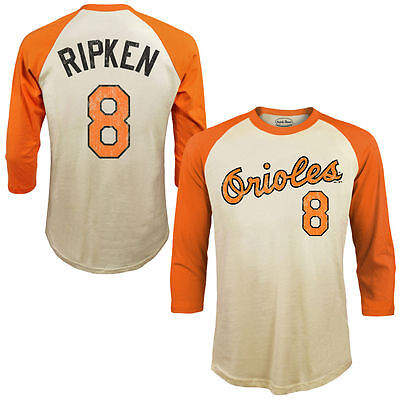Baltimore Orioles Cal Ripken Jr Majestic Raglan 3/4 Sleeve. Medium. MLB Baseball