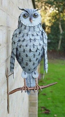 Owl On Perch Garden Statue Ornament Wall Mounted Metal Grey