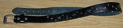 Lowlife Ladies size M medium black leather metal star studded belt 111 cm long