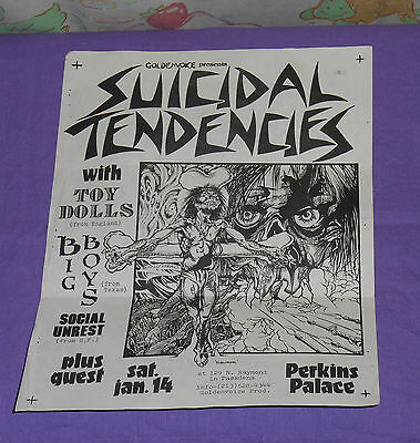 original SUICIDAL TENDENCIES FLYER Pushead with note and autograph of Mike Muir