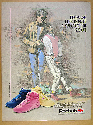 1986 Reebok Freestyle Hi-Tops blue pink yellow shoes photo vintage print Ad