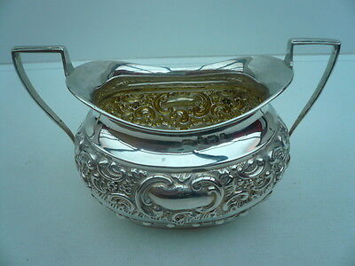 Silver Sugar Bowl, Sterling, English, Antique, Hallmarked 1903,