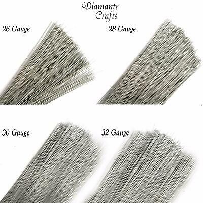 "200 Stems Silver Rose Stub Wire Florist Galvanised  - 7"" choose 26 28 30 32 swg"