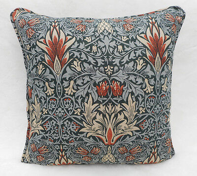 William Morris Fabric Cushion Cover 'Snakeshead' Thistle/Russet - Linen Blend