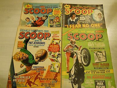 SCOOP Comic Issues 1,2,3 & 12 1978 - UK Paper Comic Football Sport Arsenal