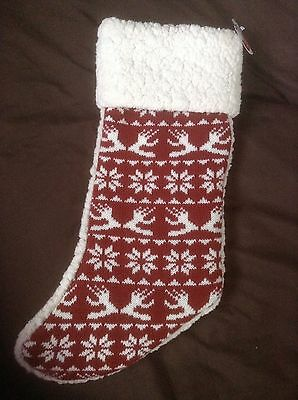 NEW Holiday Stocking RED knit sweater design Pet dog Christmas - Boots & Barkley