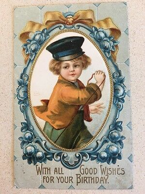 Clapsaddle  Vintage Postcard Beautiful Child With Hat Pulling