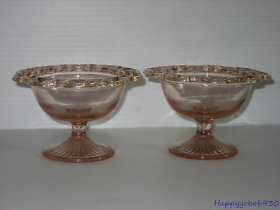 1930s  2 Old Colony Lace Edge Pink Depression Glass SHERBET Dish Anchor Hocking