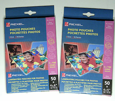 """Twin Pack of 50 Rexel Gloss Photo Laminating Pouches 6"""" x 4"""", 100 laminates"""