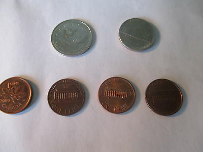 USA Canada Coins 25 & 5 Cent & 3 1 cent USA 1 Cent Canadian. Marie Curie 100%.