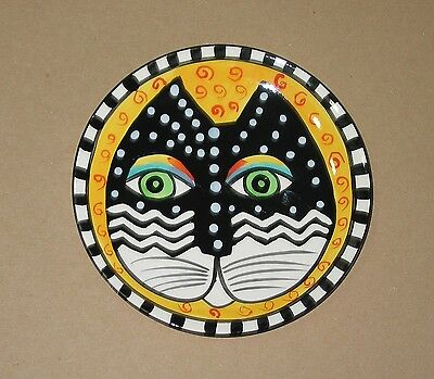 Laurel Burch cat plate 8 inch yellow background