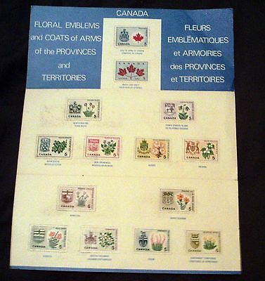 Canada Mint Stamps On Souvenir Card, Floral Emblems And Coats Of Arms.