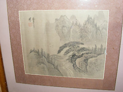 Antique Chinese Painting On Silk Landscape Signed Seal Mark Silk Border