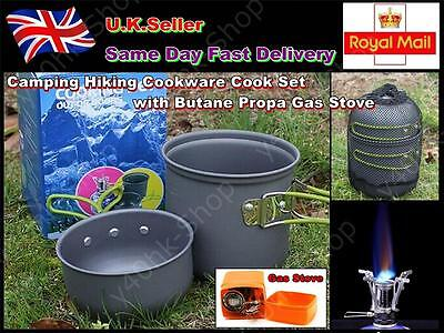 Camping Cookware Cook Set with Butane Propa Gas Stove