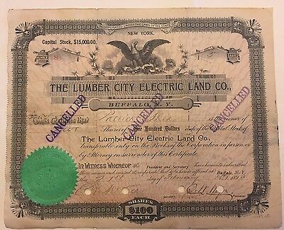 1893 Lumber City Electric Land Co. Stock Cert. RARE North Tonawanda NY Low #8!