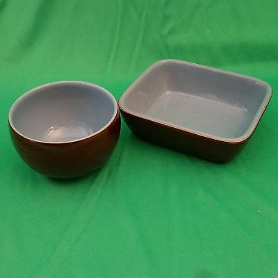 Denby Homestead  Brown 2 small dishes round and rectangular