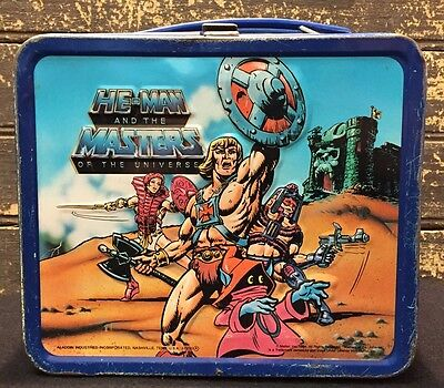 Vtg 1984 He-Man Masters of Universe Metal Lunch Box TV Cartoon Lunchbox Ex+