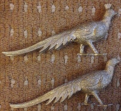 Vintage Silver Plated Pewter Peacock and Peahen Name / Menu Holders