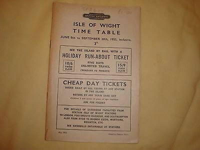 Isle of Wight Timetable June 8th to September 20th 1953