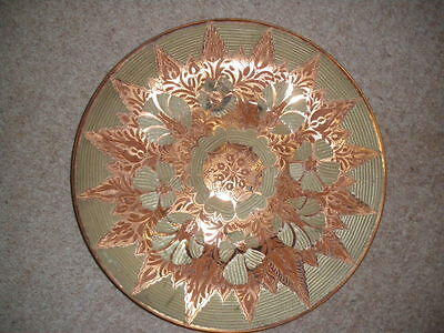 Copper  wall hung  plate 340mm  o/d machine  decorated  enamaled ?