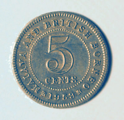 Malaya & British Borneo 5 cent coin 1953