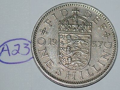 1957 Great Britain Shilling UK Coin KM# 904 Lot #A23